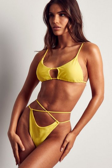 Yellow strappy high leg bikini bottom