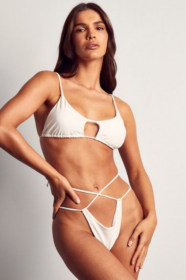 White Cut Out Scoop Neck Bikini Top