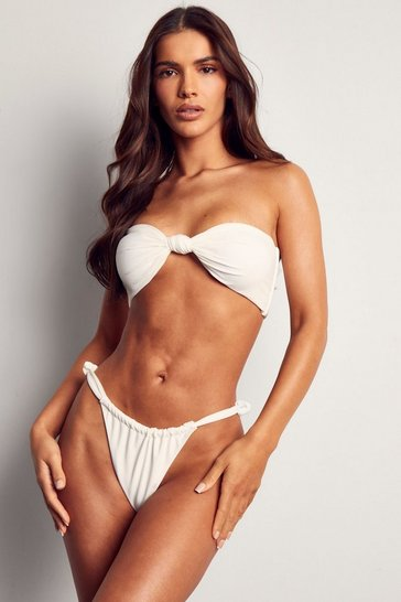 White Knot Detail High Leg Bikini Brief