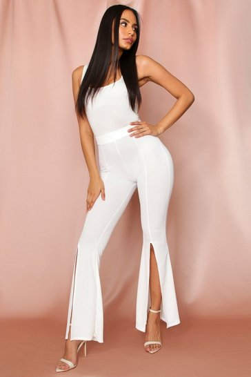White split front flared leg trousers
