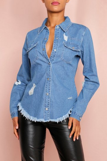 Mid blue Ripped Oversized Fray Hem Denim Shirt