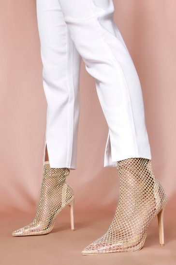 Nude diamante pointed toe ankle boot