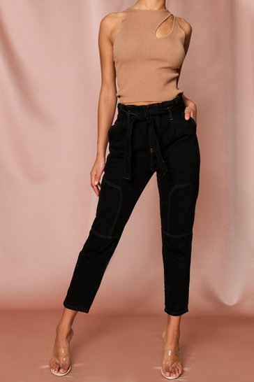 Black Contrast Stitch Belted Mom Jean