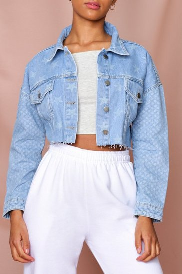 Light wash Star Cropped Denim Jacket