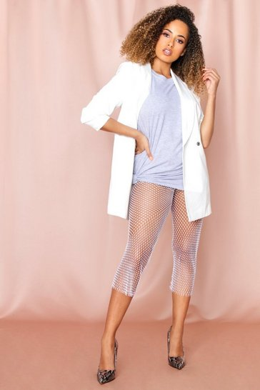 White diamante net trousers