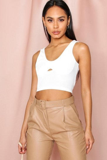 Cream rib underboob seam crop top