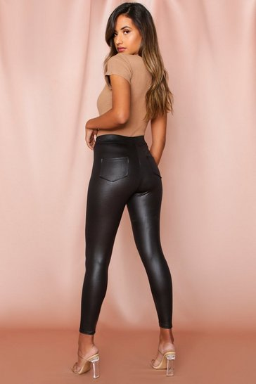Black Leather look Pocket Detail Leggings
