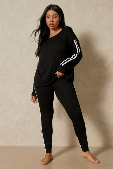 Black Side Stripe Loungewear Set