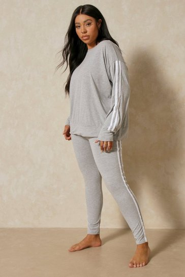 Grey Side Stripe Loungewear Set