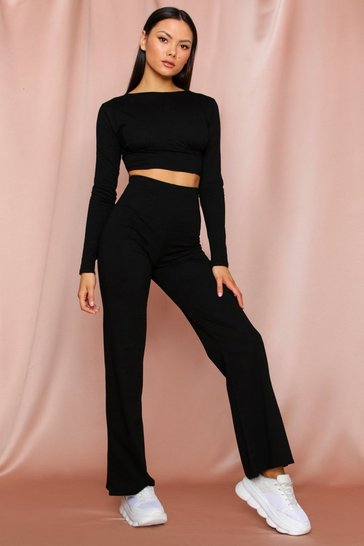 Black long sleeve cupped wide leg lounge set
