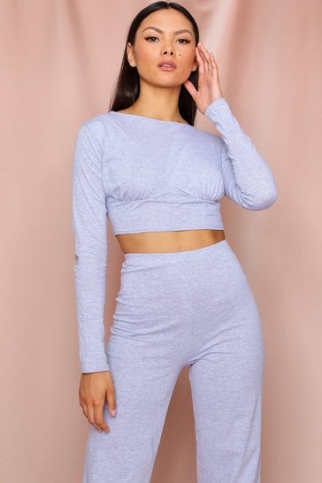Grey long sleeve cupped wide leg lounge set