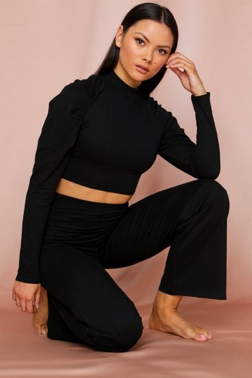 Black high neck puff sleeve lounge set