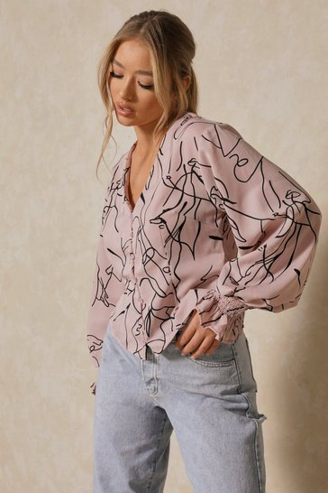 Pink sketch print button front puff shoulder shirt