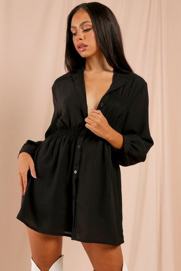 Black Ruched Detail Skater Shirt Dress