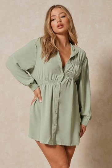 Mint Ruched Detail Skater Shirt Dress