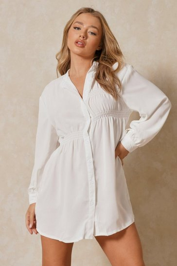 White ruched detail skater shirt dress