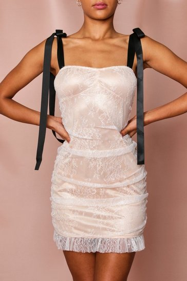 Nude Lace Ruched Tie Strap Mini Dress