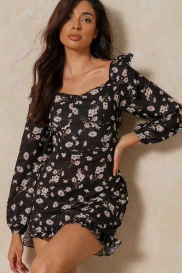 Black Floral frill detail square neck dress
