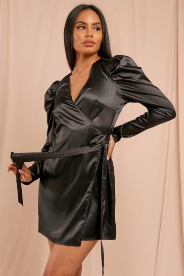 Black Satin Puff Sleeve Tie Side Wrap Dress