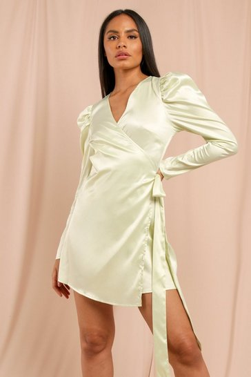 Lime Satin Puff Sleeve Tie Side Wrap Dress