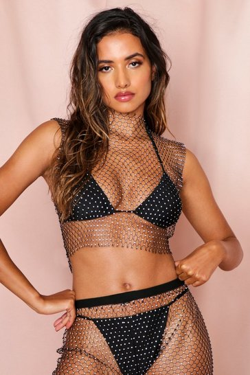 Black diamante fishnet top