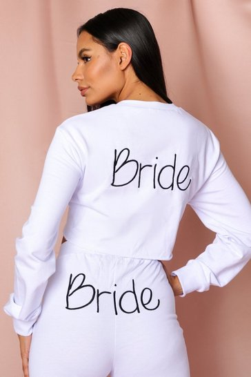 Ivory Bride Embroidered Crop Sweatshirt