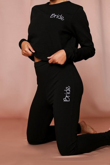 Black bride script embroidery legging set