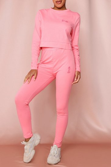 Pink Bride Embroidered Legging Set