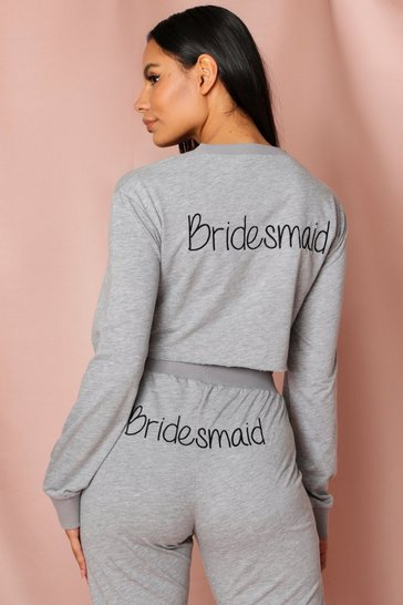 Grey Bridesmaid Crop Embroidered Sweatshirt