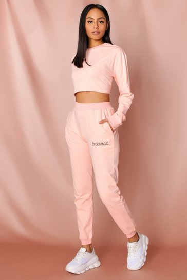 Blush bridesmaid embroidered jogger