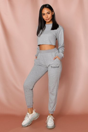 Grey bridesmaid embroidered jogger