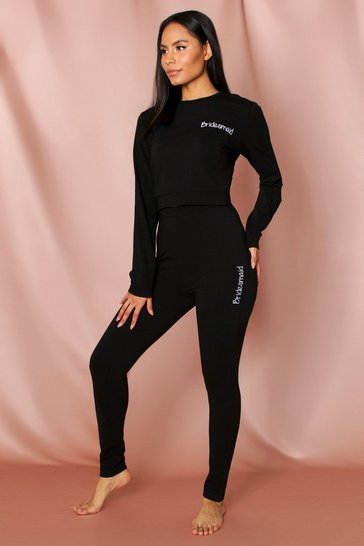 Black bridesmaid script legging set