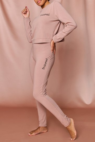 Camel bridesmaid script legging set