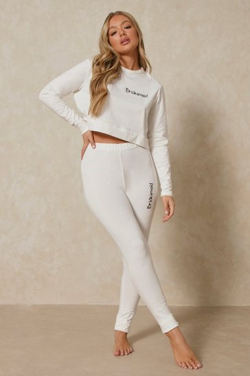 Ivory Bridesmaid Embroidered Legging Set