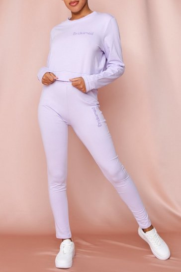 Lilac Bridesmaid Embroidered Legging Set