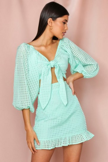 Mint organza checked balloon sleeve tie front top