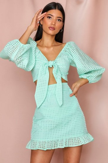 Mint Checked Organza Frill Hem Skirt