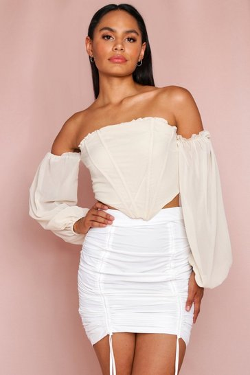White ruched front mini skirt