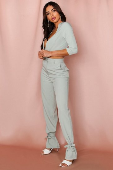 Mint high waist tie leg woven trousers