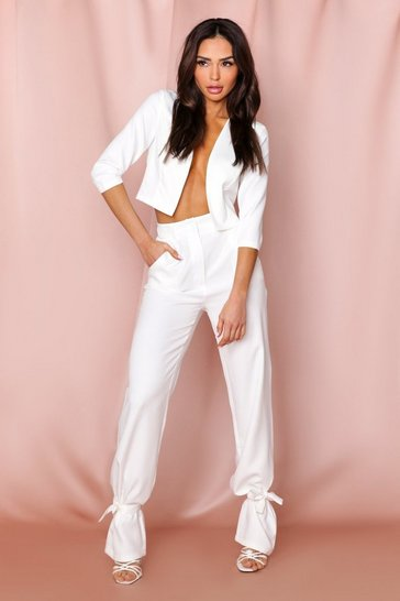 White high waist tie leg woven trousers