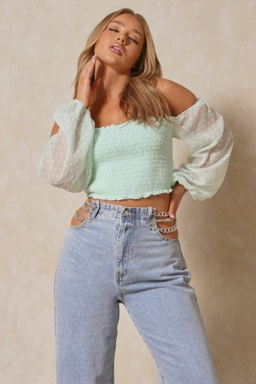 Mint Shirred Spotty Mesh Sleeve Crop Top