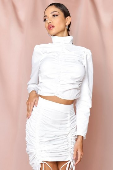 White ruched front high neck top