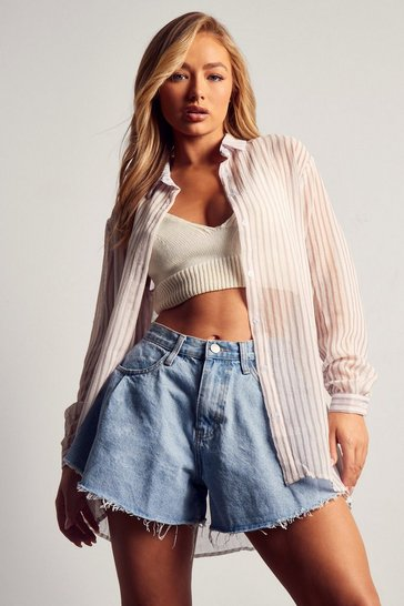 Nude Sheer Striped Oversized Shirt
