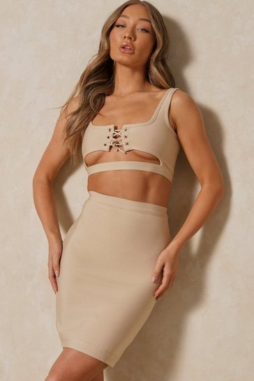 Stone Lace Up Cutout Top & Midi Skirt Bandage Coord