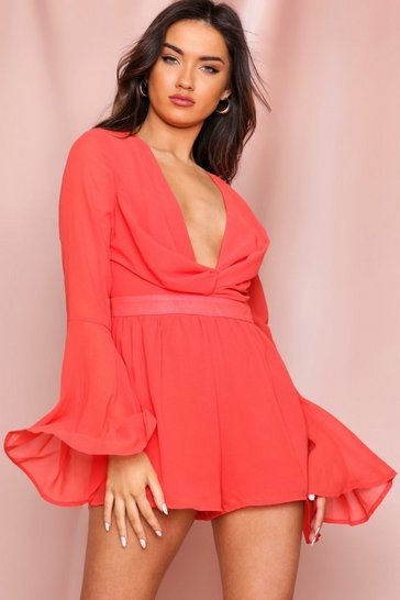 Coral Twist Front Plunge Chiffon Playsuit