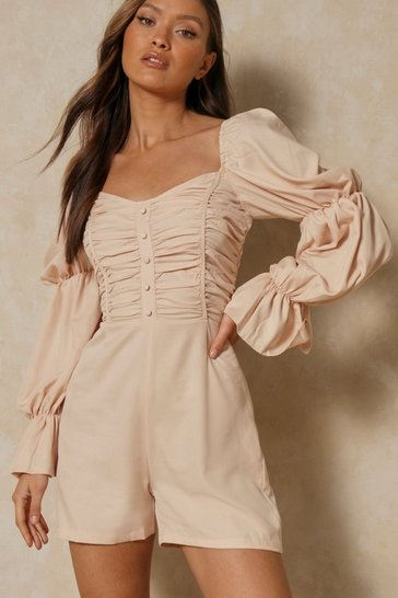 Nude Button front ruched balloon sleeve playsuit