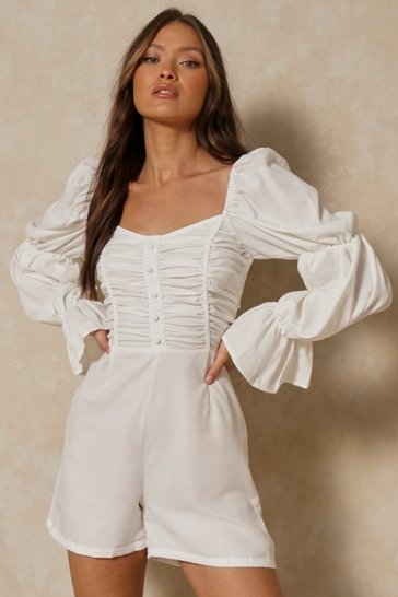 White Button Front Ruched Balloon Sleeve Romper