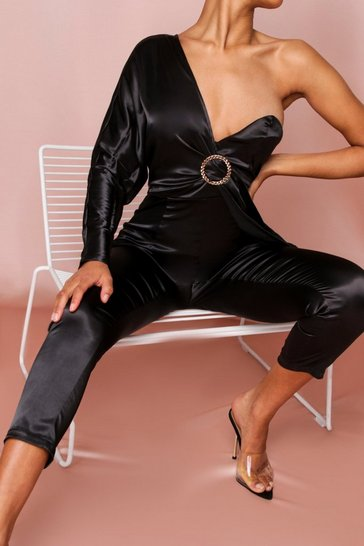 Black One Shoulder Diamante Buckle Satin Jumpsuit