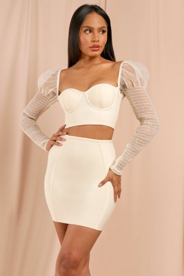 Stone Puff Organza Shoulder Bandage Top & Skirt Co-Ord