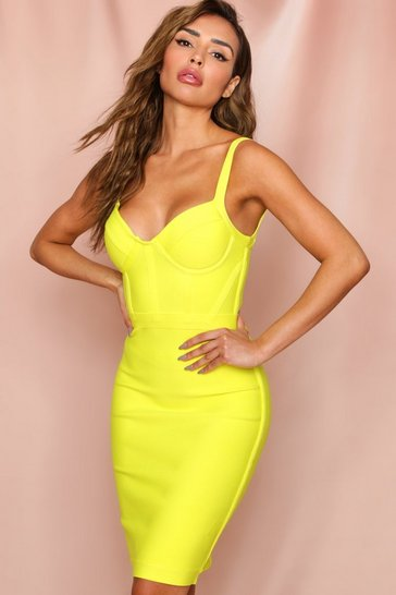 Yellow seam detail cupped bandage midi dress